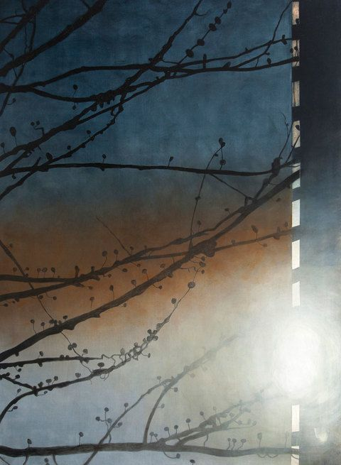 """FRANK WEBSTER  acrylic on canvas, Branches and Sunburst on Highrise 2013, 60"""" x 44"""""""