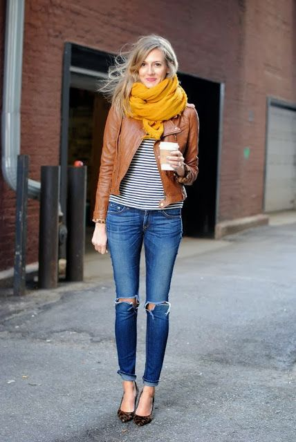 orange scarf. love this look for fall.