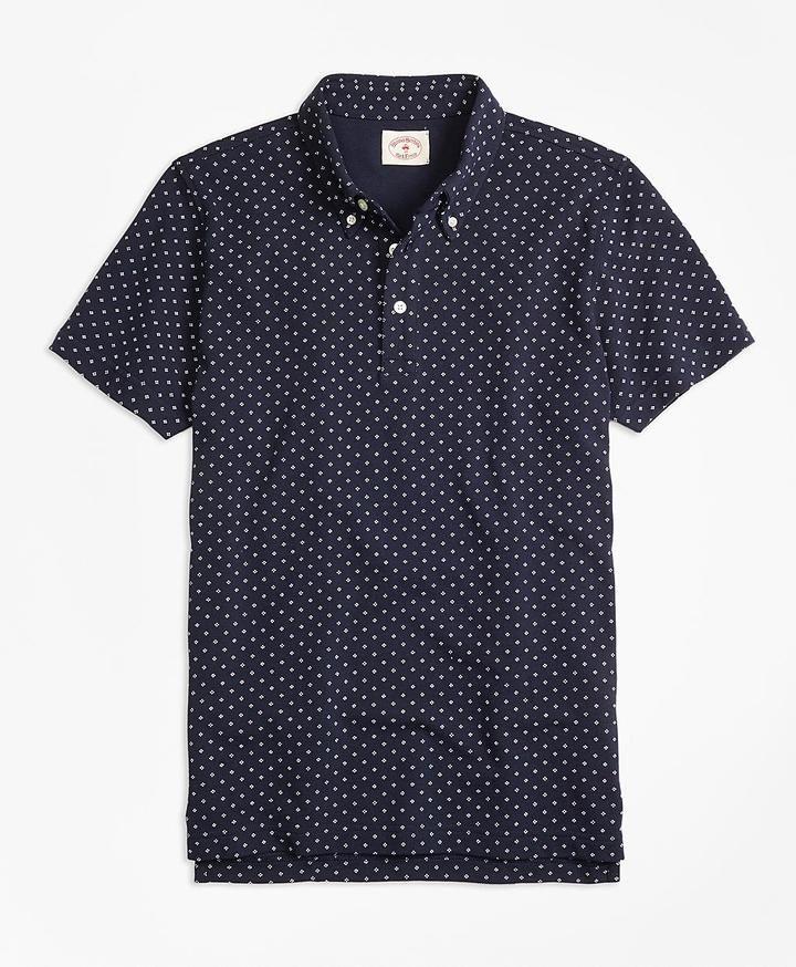 Micro-Dot-Print Polo Shirt