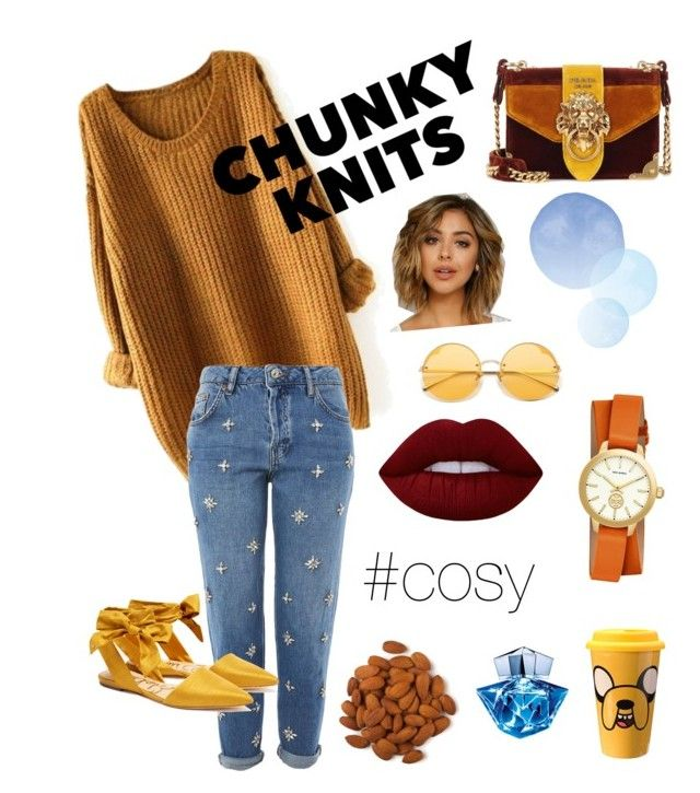"""""""chunky knit"""" by mariana-menezes-1 on Polyvore featuring Topshop, Sam Edelman, Prada, Fantasia, Tory Burch, Thierry Mugler and Lime Crime"""