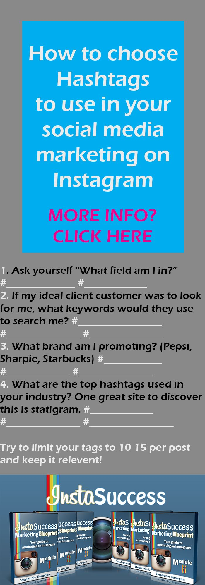 How to choose hashtags to use with your #socialmedia marketing. #instagram www.InstaSuccessMarketingBlueprint.com