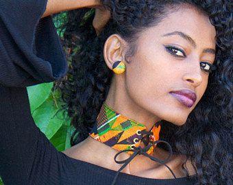 Kente dentelle - tour de cou en Collier ras de cou - tour de cou imprimé Kente - Laceup - africaine imprimer ras du cou