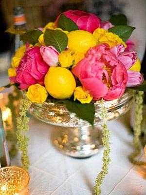 Pretty and unique: Flowers So Pretty, Flower Arrangements, Wedding Flowers, Lemon Centerpiece, Flower Ideas, Floral Arrangement, Bright Flowers, Pink Peonies
