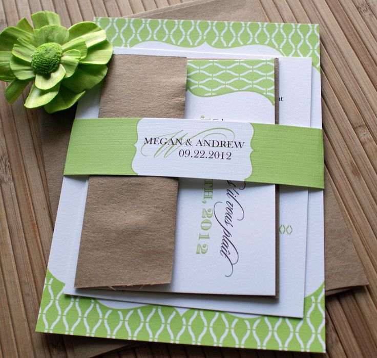 Apple Lime Green & Brown Wedding Invitations with Belly Band. $4.50, via Etsy.