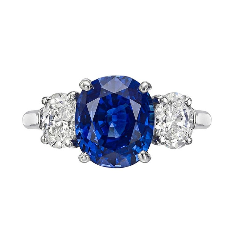 4.97 Carat Sapphire & Diamond Engagement Ring | From a unique collection of vintage three-stone rings at http://www.1stdibs.com/jewelry/rings/three-stone-rings/