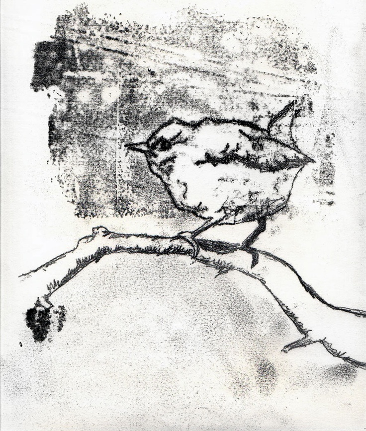 wren monoprint - monoprinting as an idea to show bridge texture?
