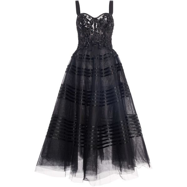 Marchesa Embellished Tea Length Dress ($5,995) ❤ liked on Polyvore featuring dresses, black, tea length dresses, embellished dress, embellished corset, beaded corset and corsette dress