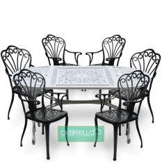 Elips 6 kişilik alüminyum masa sandalye takımı bahçe mobilya seti