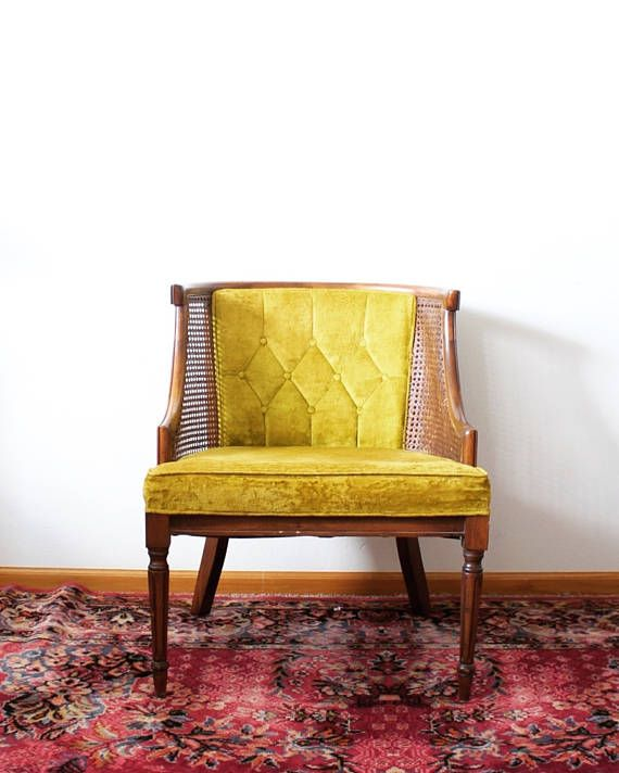 Baby Room Chair | Cane Wicker Chair | Tufted Chair | Parlor Chair | Mustard Chair | Tufted Cane Chair | Velvet Chair | Chartreuse Decor