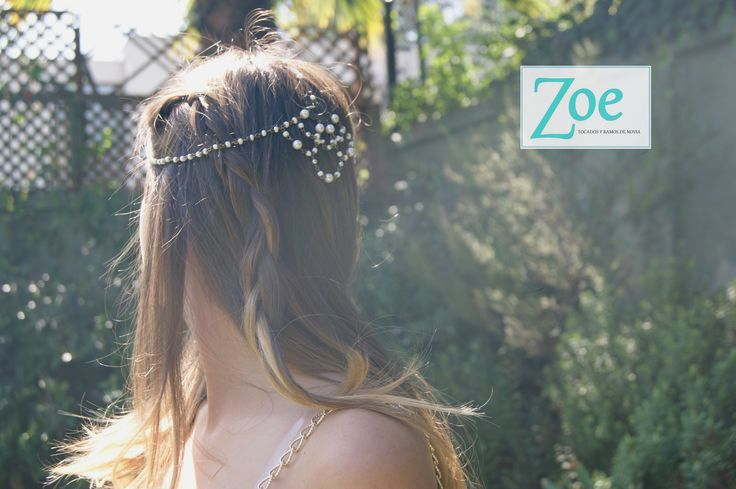 #tocado #novia #peinado #cadena #perlas #metal #hippiechic #ElTocadoPerfecto #matrimonio #ZoeNovias #ZoeTocados