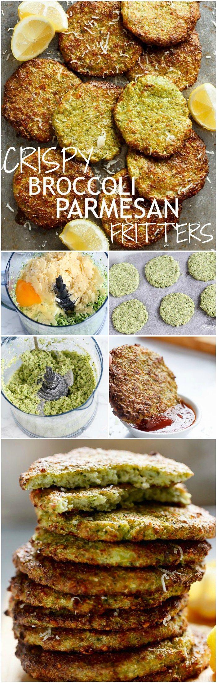 Crispy Broccoli Parmesan Fritters -- baked instead of fried -- is a great way to deliciously stash veggies for both children and adults!   http://cafedelites.com