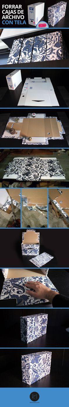 Como forrar cajas de archivo de cartón con tela. Tutorial con fotos paso a paso. Coste del proyecto de 0,60 € a 5€, depende del material que tengas en casa.
