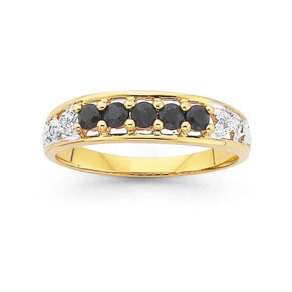 9ct Gold Natural Sapphire and Diamond Ring