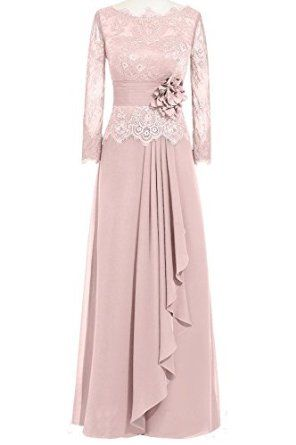Women Lace Chiffon A-Line Formal Evening Dresses with Long Sleeves