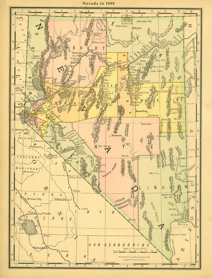 Old Wild West Map Nevada Ghost Towns 1888