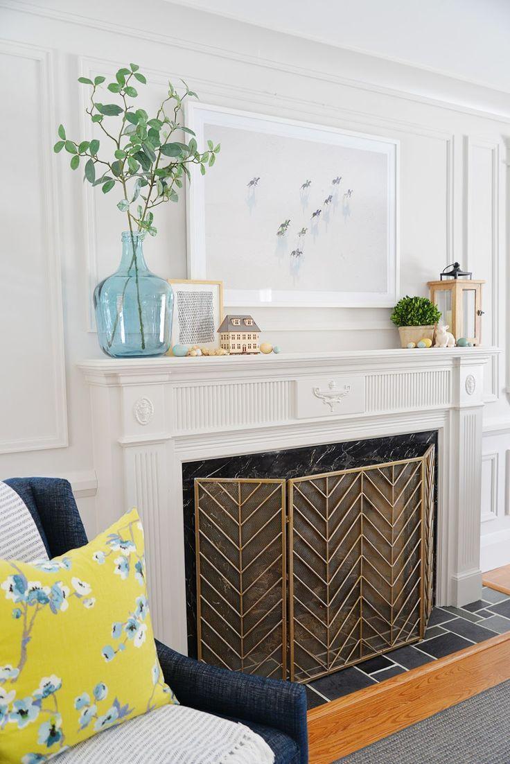 Rambling Renovators Fireplace Mantel Decor Ideas For Spring Fireplace Mantel Decor Modern Fireplace Mantles Fireplace Mantle Decor