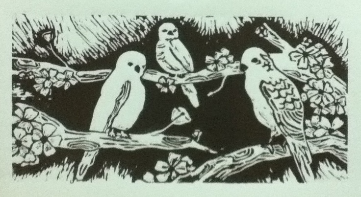 Lino Print. 35x15cm brown ink