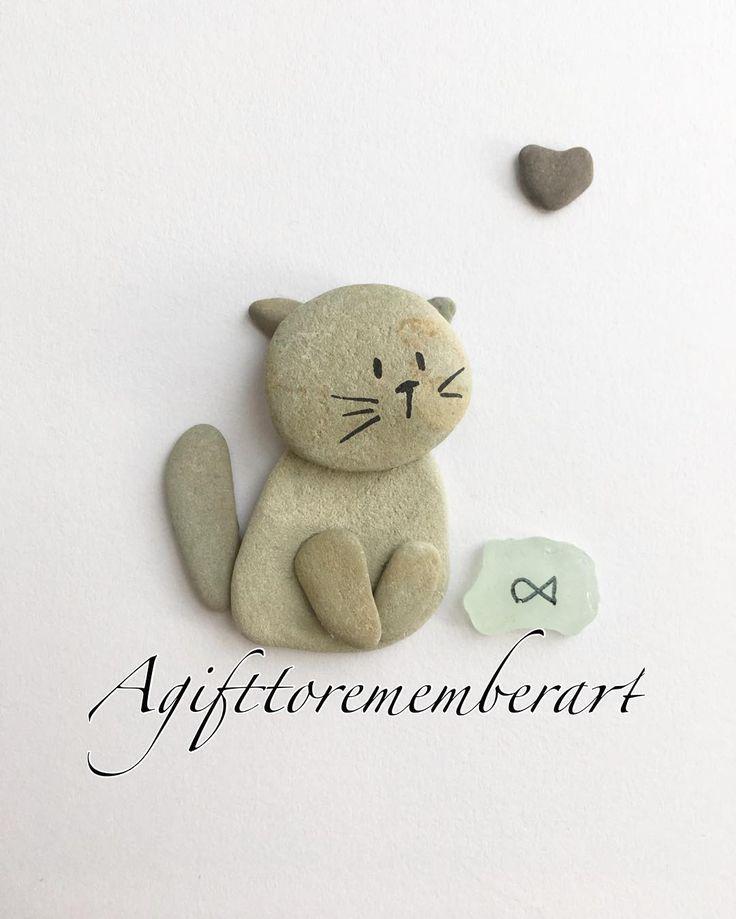 """61 """"Μου αρέσει!"""", 1 σχόλια - Neshat Ghaffari (@agifttorememberart) στο Instagram: """"Another cute design of little kitten. #agifttorememberart #pebbleart #cat #kitten #nature #etsy…"""""""