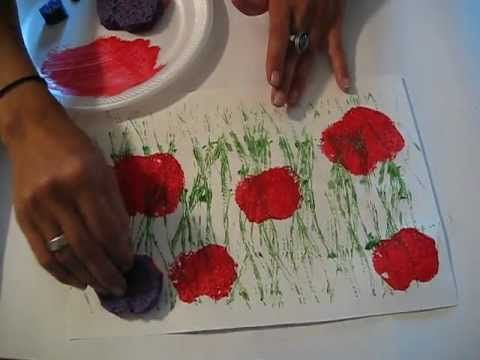 Andy Warhol flower prints--side of cardboard for grass, flower print or construction paper