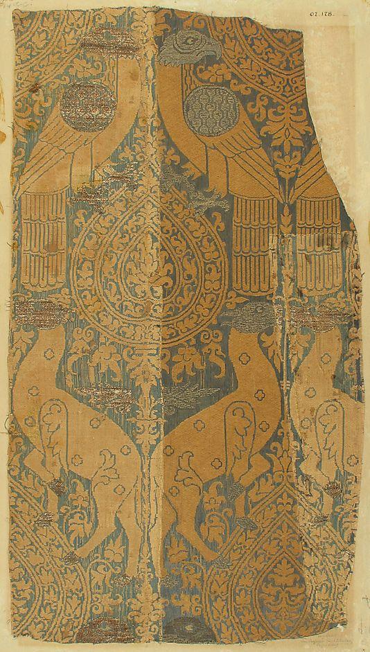 Textile with Animals and Birds    Date:      ca. 1250–1300  Culture:      Italian  Medium:      Silk, metal thread