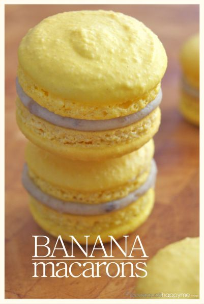 Banana Macarons - After the macaron elimination challenge on Master Chef, I feel very tempted to try these!