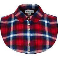 Tartán rojo babero de cuello camisa de la verificación