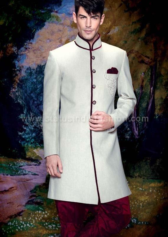 Mens wear, groom wear,Cream Color indo western, sherwani indo western, designer sherwani, marriage sherwani, indian wedding wear www.statusindiafashion.com