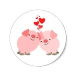 Be my Valen'schwein'! Cute Cartoon Pigs in Love Sticker