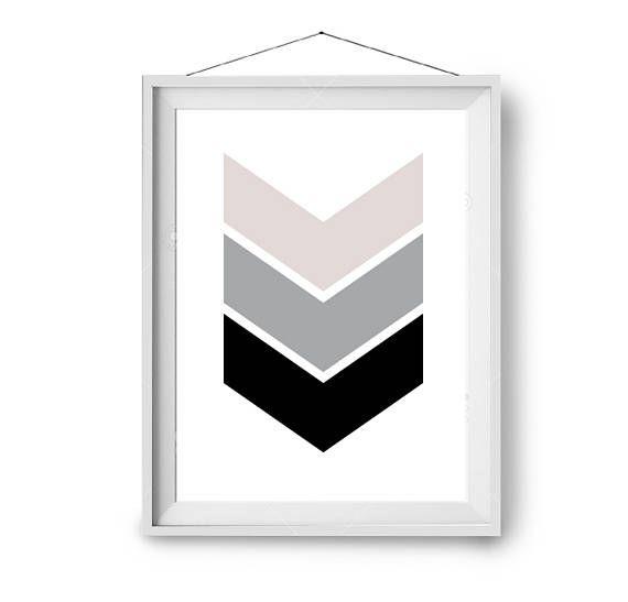 Minimal Art, Chevron Print, Blush Grey Black Print, Geometric Art, Arrow Print, Scandinavian Print, Scandinavian Decor, Print Avenue Art