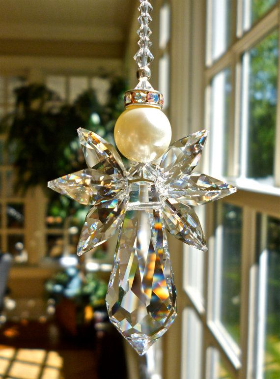 BLISS, Swarovski Crystal Angel Suncatcher, Guardian Angel for Home or Car, Entirely Swarovski Crystals, Clear or AB - Choose Your Length