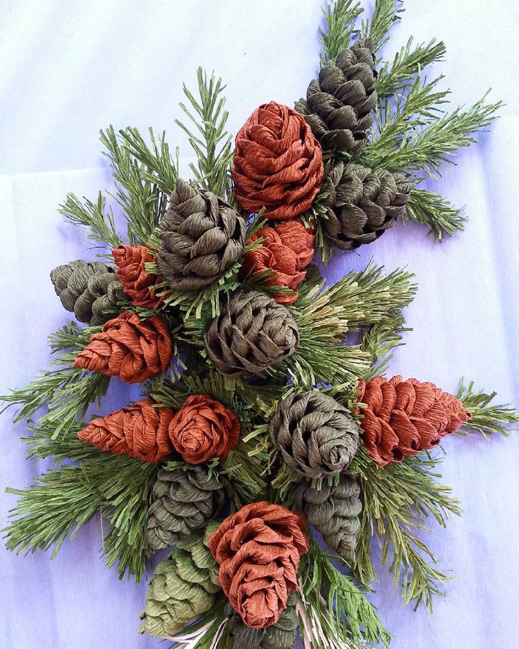 "441 Likes, 22 Comments - Valentina Moraliyska (@valentinasflowers) on Instagram: ""#paper #crepepaper #pinecone #christmas #decoration"""