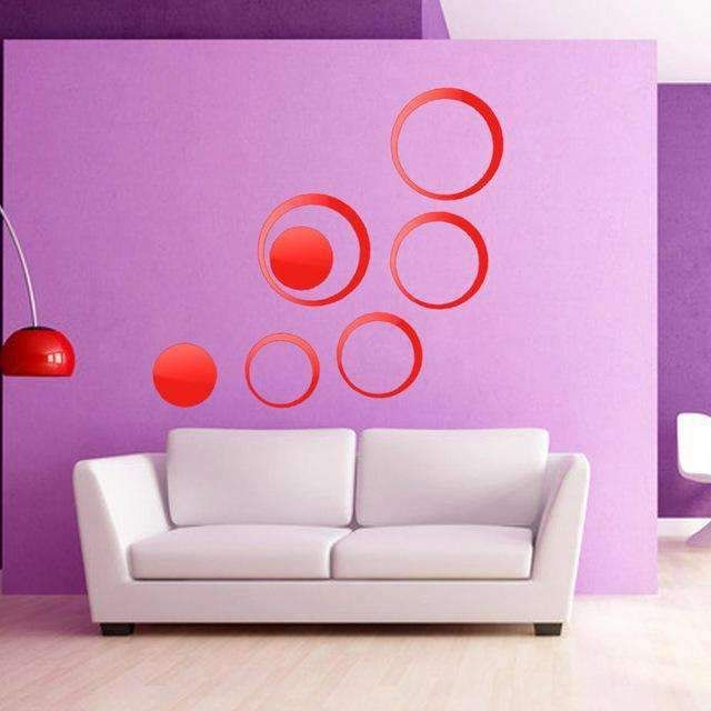 DIY Circles Wall Mirror Stickers Vinyl Art Mural Wall Sticker Room Decoration