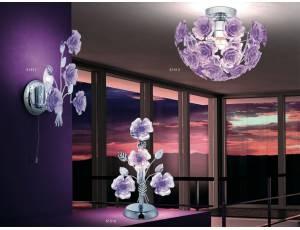 Clara 6 lampada da tavolo- Lampada da tavolo con interruttore, struttura in metallo cromato e fiori in acrilico    Lampadine: 1 x 40W E14 escluse    Dimensioni:L 22 P 16 H 37 cm    Prodotto realizzato da azienda EU