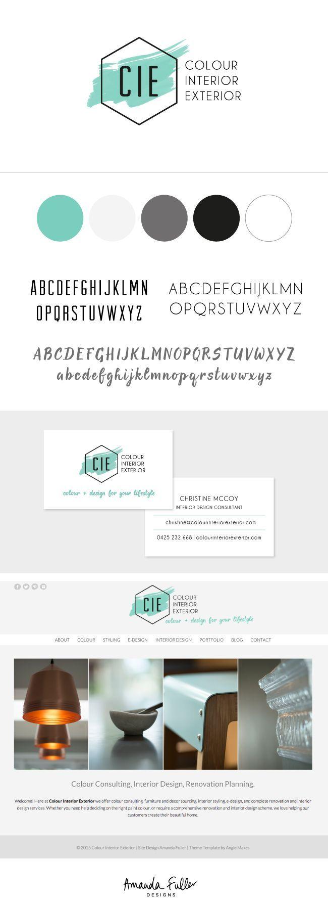 Colour Interior Exterior - Interior Design company logo, branding, business card and website design by Amanda Fuller Designs