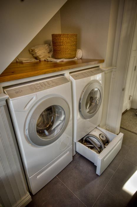 laundry under the stairs...making use of every nook and cranny!