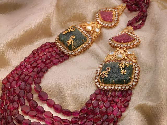 135 Grams Ruby Drops Haram - Jewellery Designs
