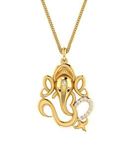 Silver Mens Pendants: Gold Plated Lord Ganesh Pendant Made from Sterling Silver