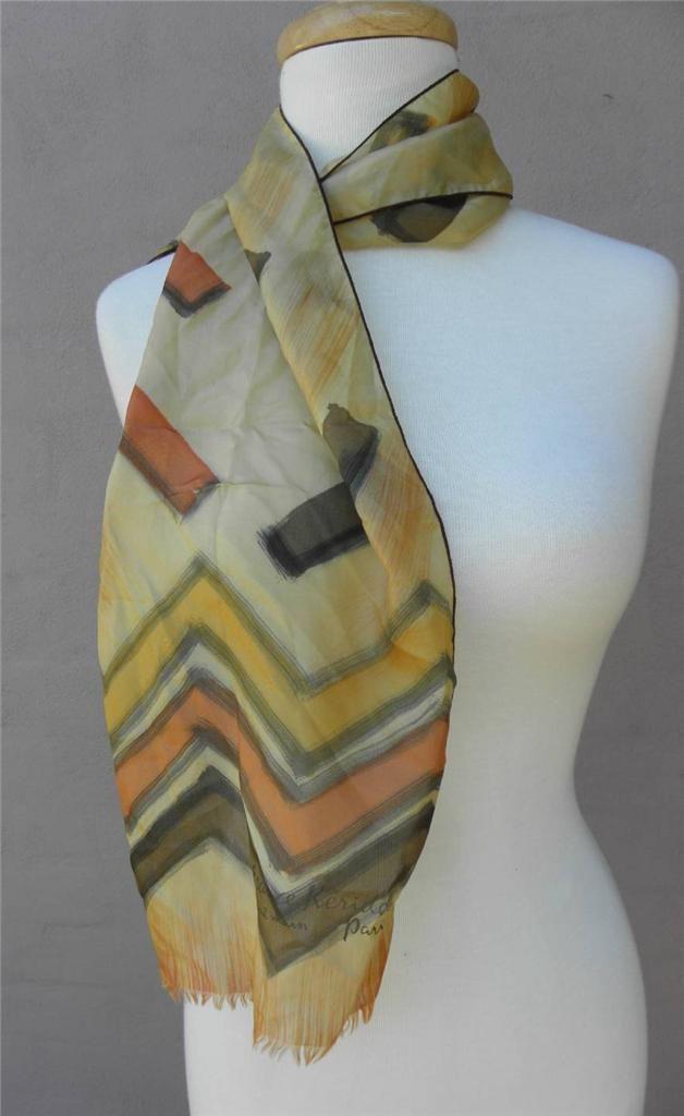 Vintage France Keridec Paris Designer Hand Painted Rectangular Silk Scarf