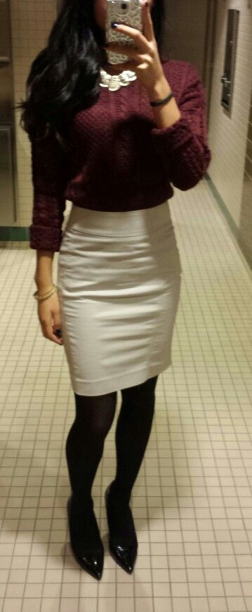 business casual for fall. sweater skirt and tights love this look with the chunky necklace