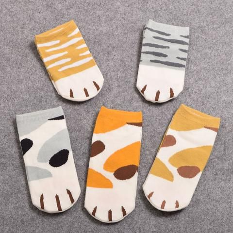5 Pair Cat Paw Ankle Socks (with toe beans)