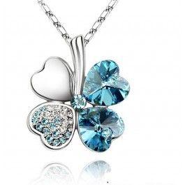 GRATIS Kristallen Klavertje 4 Ketting - Zilver-Lichtblauw (t.w.v. €24,95) - Ketting - Sieraden