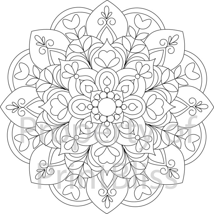 19 flower mandala printable coloring page by printbliss on etsy art my work mandala. Black Bedroom Furniture Sets. Home Design Ideas