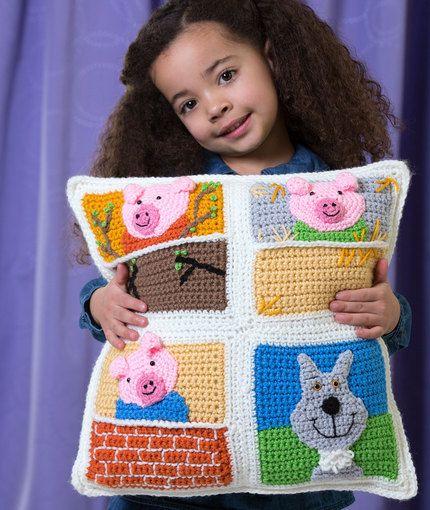 Three Little Pigs Pillow. ~❀CQ #crochet #spring #bags #totes  http://www.pinterest.com/CoronaQueen/crochet-bags-totes-purses-cases-etc-corona/