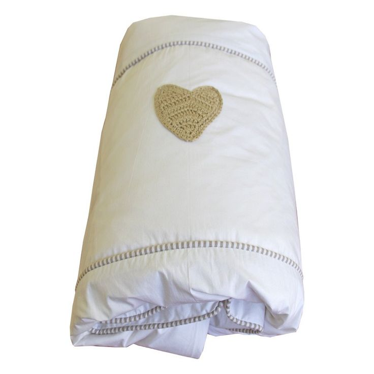 Pinstripe Stone Hand-crocheted Hearts - Cot Duvet Cover