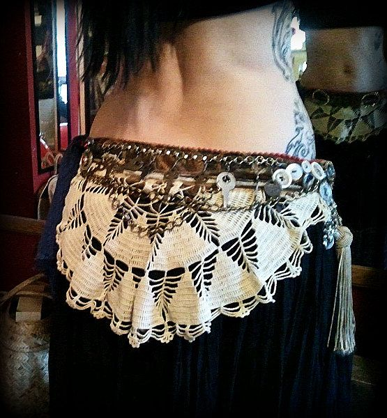 Orientalism in Tattered Lace - Tribal Fusion Belt - size Small $121