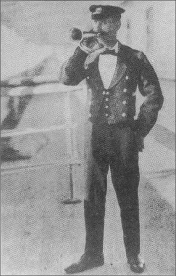 *TITANIC~The Titanic Bugler On board the RMS Titanic was P.W.Fletcher of Southampton.Fletcher was the ship's Bugler.He would announce meals and any events that were happening on the ship. Fletcher,26,was born in London. He had transferred from the Olympic, Titanic's sister ship and initially signed-on to the Titanic After arrival at Southampton on 4 April he signed on again. He was paid the same as steward but actually worked as the ship's Bugler. His body if recovered, was never identified.
