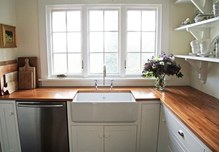 {Little Green Cottage}: Kitchen Inspiration: Butcher Block Gallery A country farmhouse.blogspot Ikea birch countertop Safe coat cedar color Satin finish sealer