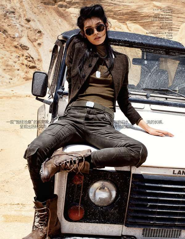 Smoldering Military Photoshoots - The Vogue China 'Army Chic' Editorial Stars a Badass Ming Xi (GALLERY)