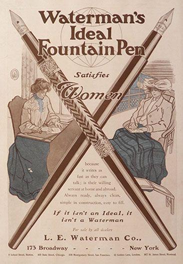 1904 Waterman's Fountain Pen Ad ~ Satisfies Women