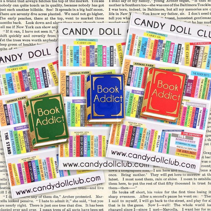 Book Addict enamel pins by #JadeBoylan - #CandyDollClub